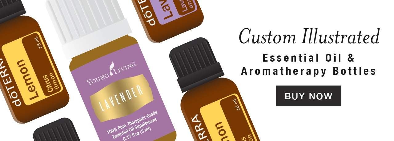 Online shop homepage graphic with illustrated aromatherapy bottles