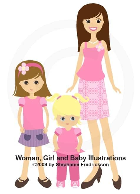 Woman, Girl and Baby Illustration from 2009