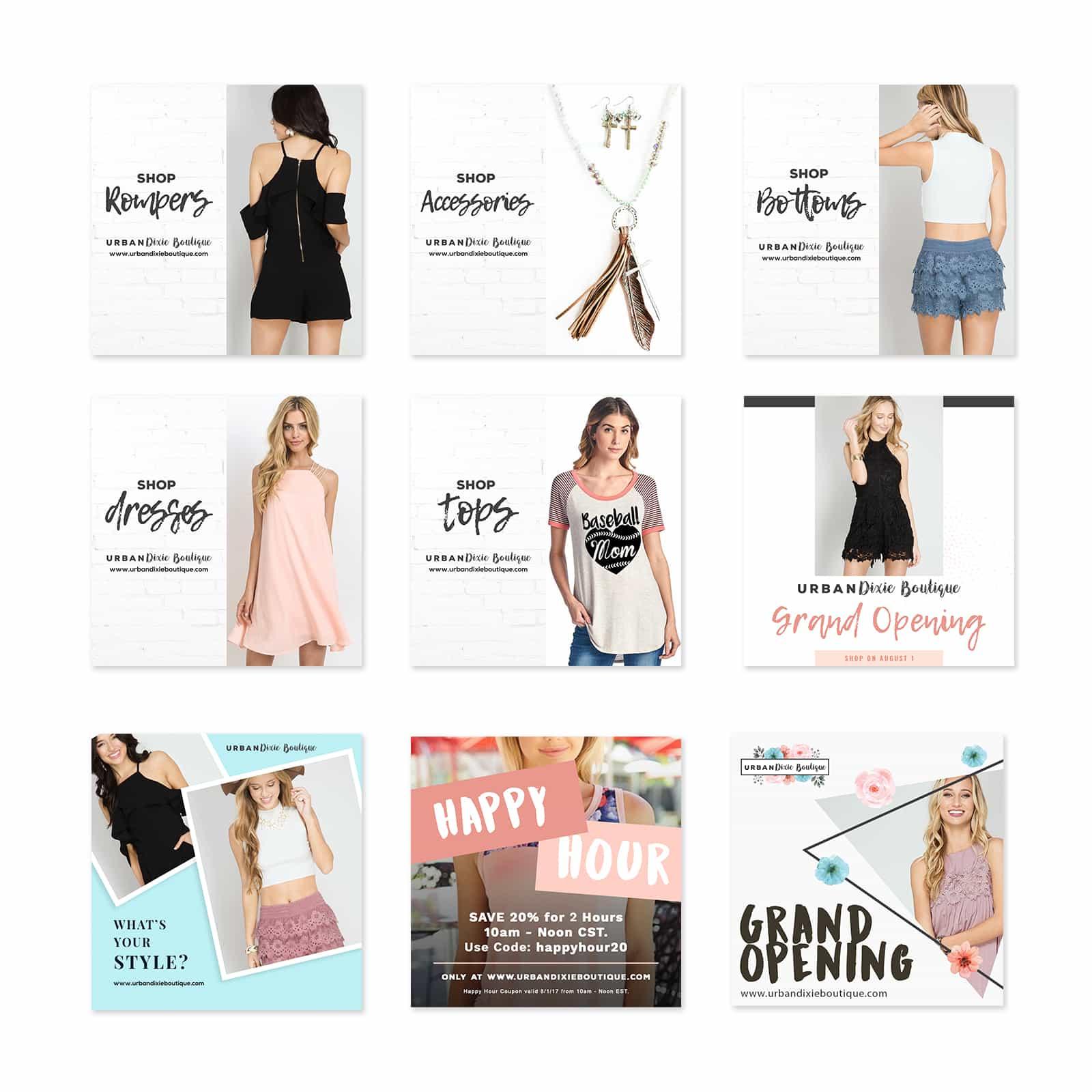 Urban Dixie Boutique Social Media Marketing Boutique Custom Design